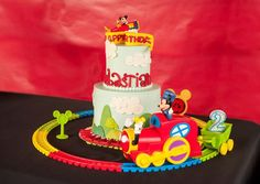 Train Cake at a Mickey Mouse Party #mickeymouse #partycake