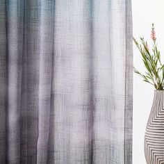 Sheer Cotton Painted Ombre Curtains (Set Of 2)   Moonstone