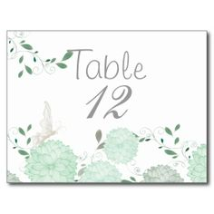 Butterflies and Green Chrysanthemums Table Card #butterflies #wedding #Spring #WeddingCollection #WeddingInvitations #Invitations #Floral