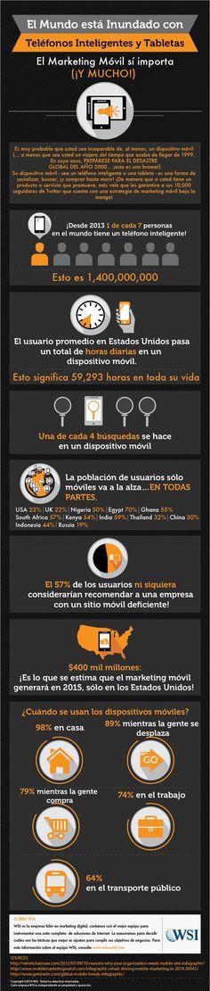El mundo está inundado con teléfonos inteligentes y tabletas. Infografía en español. #CommunityManager
