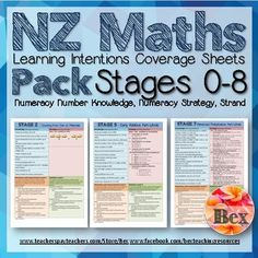 New Zealand Maths Learning Intentions Sheets Stage Numeracy Project Includes LI for; * Number Knowledge * Strategy * Strand Great as a coverage checker, planning and assessment. You can also give this to parents to show what their child is going to learn. Classroom Teacher, Numeracy, School Resources, Maths, Assessment, New Zealand, Stage, Parents, Students