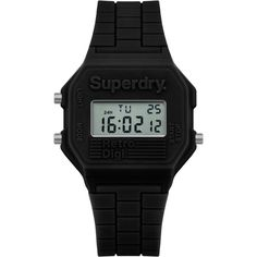 Superdry Women's Retro Digital Silicone Strap Watch , Black (105 BRL) ❤ liked on Polyvore featuring jewelry, watches, black, retro digital watches, digital wristwatch, digital watches, superdry and leather-strap watches