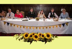 A reminder of summer with this sunflower wedding! # presents Make Bunting, Wedding Bunting, Sunny Days, Groom, Banner, Presents, Weddings, Bride, Summer