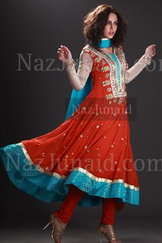Stunning orange and turquoise pishwas-style salwar kameez