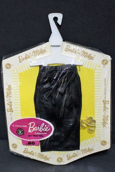Barbie Vintage Black Satin Skirt with clear OT shoes (with glitter) Mint on card #Mattel
