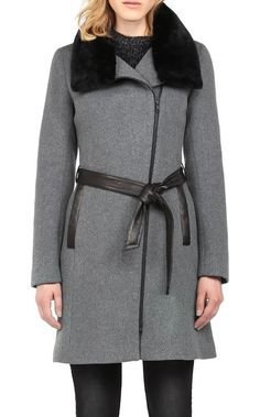 Soia Kyo elma classic wool coat with removable faux fur collar