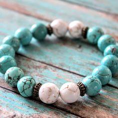 New!! Turquoise, White Turquoise Gemstone Bead Bracelet, Stretchy Stacking Bracelet, Mala Bead Bracelet, Yoga Jewelry