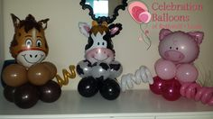 Farm themed centrepieces from www.rothwellballoons.co.uk
