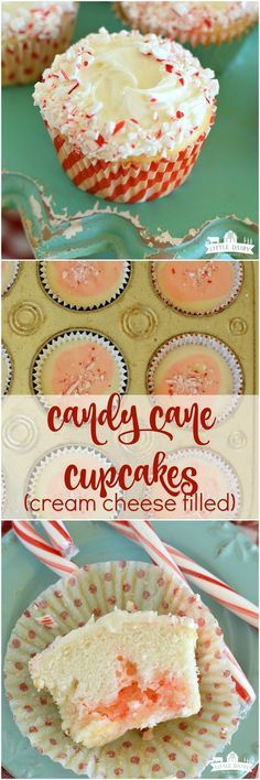 Candy Cane Cupcakes (cream cheese filled), Desserts, Candy Cane Cupcakes have a scrumptious candy cane cream cheese filling tucked inside! They are impressive and easy for the holidays! Mini Desserts, Holiday Desserts, Holiday Baking, Holiday Treats, Holiday Recipes, Delicious Desserts, Christmas Recipes, Holiday Appetizers, Holiday Foods