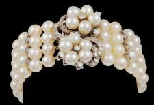 14kt. Gold 4 Row Pearl & Diamond BraceletB1045