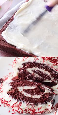 Serve up this always popular red velvet cake roll for any upcoming occasion. This red velvet cake roll uses a box cake mix for easy prep. Red Velvet Roll Recipe, Red Velvet Cake Roll, Köstliche Desserts, Delicious Desserts, Dessert Recipes, Food Cakes, Cupcake Cakes, Desserts Valentinstag, Cake Roll Recipes