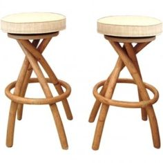 Set of 4 Bamboo Rattan Bar Stools | From a unique collection of antique and modern stools at