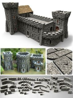 Printable Scenery is raising funds for TIME WARP - Rampage Castle, Europe and the Americas on Kickstarter! TIME WARP featuring Rampage Castle and detailed game-ready buildings from Europe and the Americas designed for your home Printer Terrain 40k, Warhammer Terrain, Wargaming Terrain, Game Terrain, Minecraft Castle, Minecraft Medieval, Medieval Houses, Medieval Town, Hirst Arts