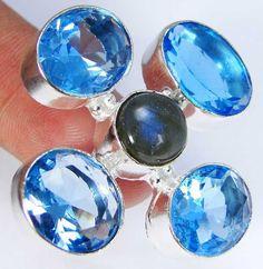 Quartz Blue Topaz & 925 Silver Handmade Stylish Ring Size N & gift-box