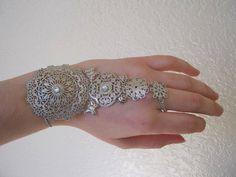 Silver Filigree Hand Bracelet cuff glove with Swarovski by izodiea, $32.00