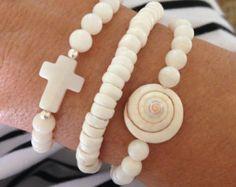 beach bohemian bracelet stack 4 gypsy mermaid por beachcombershop