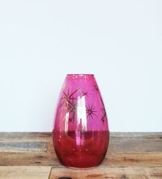 Mid-century Cranberry Glass Vase with Gold by PrettyLeftovers