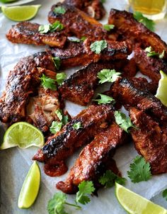 Pork ribs with a Chipotle BBQ Sauce, baked in the oven. A one pan recipe!