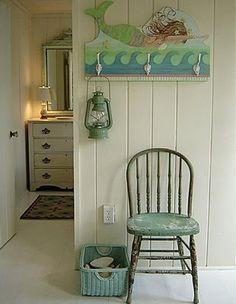 Mermaid shelf w/hooks - kids' bathroom?