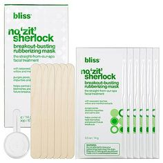 Bliss No Zit Sherlock Breakout Busting Rubberizing Mask by Bliss. $30.70. Purges pores, absorbs impurities and calms skin. Helps control oil, fade blemishes and prevent future breakouts. With Seaweed, tea tree willow and menthol extracts. Bliss NO Zit Sherlock Breakout-Busting Rubberizing Mask, The Straight-From-Our-Spa Facial Treatment, Includes 6 individually wrapped mix-it-yourself masks, 6 spatulas and measuring scoop. Helps control oil, fade blemishes and preven...