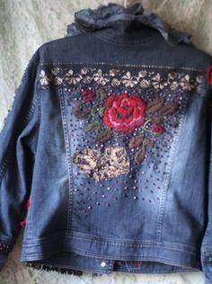 Time traveller-- colorful crazy bohemian denim jacket, textile art jacket with antique lace and hand embroideries, Vintage Cotton, Cotton Lace, Denim Ideas, Recycle Jeans, Altered Couture, Embroidered Jeans, Jackett, Antique Lace, Jeans Fit
