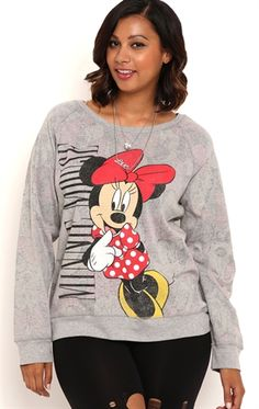 Deb Shops Plus Size Long Sleeve Reversible Minnie Mouse Top $22.50