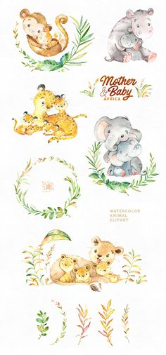by StarJam on Creative Market - Die Joe - Mother & Baby. by StarJam on Creative Market Mother & Baby. by StarJam on Creative Market - Watercolor Animals, Watercolor Art, Mother And Baby Animals, Baby Animal Drawings, Baby Drawing, Drawing Drawing, Baby Illustration, Sewing Art, Animal Paintings