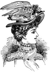vintage hat clipart, peacock clip art, antique millinery styles, victorian lady image, vintage fashion graphics