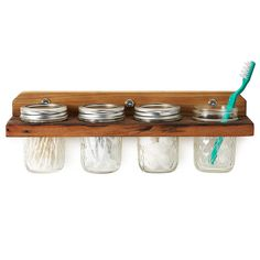 Mason Jar Storages - The Wooden Mounted Wall Caddy is a Crafty Way to Store Supplies (GALLERY)