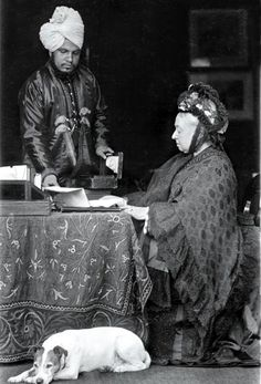 Queen Victoria with her Indian servant Abdul Karim whom she called Munshi (teacher) and who taught her Hindi.
