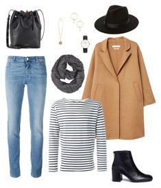 Stripped tee, jeans & camel coat : Chic winter outfit by sept8th