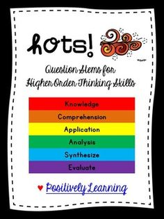 Here's a freebie to support higher order thinking skills (HOTS) in your classroom! There are six pages of question stems (one page for each level), plus a storage label. Enjoy & thanks for stopping by!