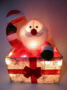 UK-Gardens 50cm Animated Santa in Gift Box Novelty Home Christmas Decoration #UKGardens #Christmas Christmas Gift Box, Animation, Christmas Decorations, Santa, Lights, Handmade, Ebay, Home Decor, Hand Made