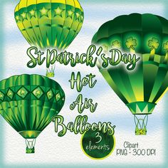 Three Hot Air Balloons Clipart for St. Patricks Day. Would like more hand painted watercolor,Artsy Shamrocks and St Patricks Day Clipart? Please visit here:  https://www.etsy.com/listing/514758347/st-patricks-day-clip-art-lots-of?ref=shop_home_active_2  https://www.etsy.com/listing/501139890/artsy-watercolor-shamrocks-29-elements?ref=listing-shop-header-1  https://www.etsy.com/listing/514622615/artsy-waterco...