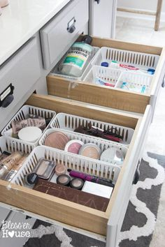 Use plastic baskets in drawers.
