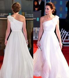 The Duchess looked positively angelic this evening at the annual BAFTAs event in a new gown and jewellery from Diana and the Queen… Duchess Kate, Duke And Duchess, Duchess Of Cambridge, George Et Charlotte, Nice Dresses, Prom Dresses, Princesa Kate, Kate Middleton Prince William, Estilo Real
