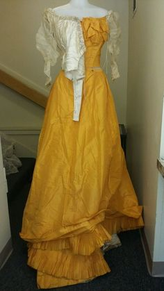Antique Victorian STUNNING Bright Orange & Cream Ball Gown Bustle Dress Mourning #Unbranded