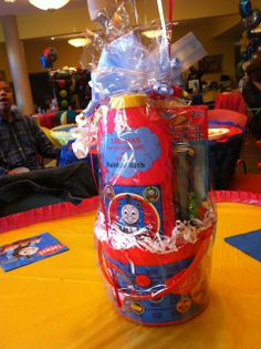 Fun table centerpieces at a Thomas the Train Birthday Party! See more party ideas at CatchMyParty.com!