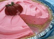 Cool Aid pie: Ingredients:   1 - 8 ounce tub of Cool Whip Whipped Topping   1 - 14 ounce can of Sweetened Condensed Milk   1 - pack of unsweetened Strawberry or Lemonade Kool -Aid   1 - 9 inch Graham Cracker or Nilla Wafer Pie Crust     Directions:   Add all the ingredients together and pour into a prepared graham cracker crust.     Chill about 2 hours then serve.     The flavor possibilities are endless my favorites are   Lemon, Strawberry, Tropical Fruit, Orange & Pink Lemonade.