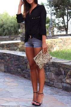 Casual chic. heels, shorts, and solid colored button up.