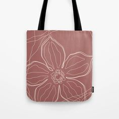 """High quality red tote bag perfect for your shopping or as a yoga bag for a stylish look. The floral line art design is in neutral earthy color. Available sizes 13""""x13"""" 16""""x16"""" 18""""x18"""". Line Art Design, Cute Presents, Red Tote Bag, Gifts For An Artist, Yoga Bag, Red Bags, Printed Tote Bags, Earthy, Hand Sewing"""