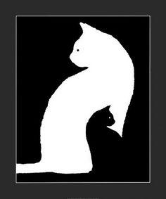 Wht cat w/blk cat drawg
