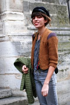 Inspiration: French actress/musician/model Lou Doillon. LOVE the purple sleeve cap detail