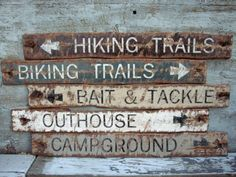Rustic Distressed Hiking Trails, Biking Trails, Outhouse, Campground, Bait and Tackle Wood Cabin Lodge Signs Rustic Cabin Decor, Rustic Signs, Rustic Wood, Wooden Signs, Ski Decor, Rustic Cabins, Rustic Cottage, Log Cabins, Painted Signs