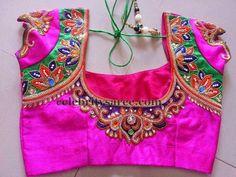 Fuchsia Pink Thread Work Blouse | Saree Blouse Patterns