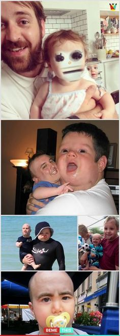 Hilarious Baby Face Swaps That Might Terrify You - bemethis Funny Face Swap, Funny Love, Face Swap Fails, Funny Images, Funny Photos, Face Swaps, Laughing So Hard, Funny Fails, Super Funny