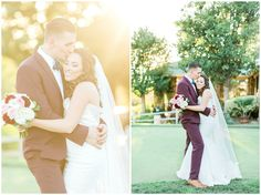 Bride and Groom portraits at the San Diego Steele Canyon Golf Club | Fall Wedding with maroon suits and accents