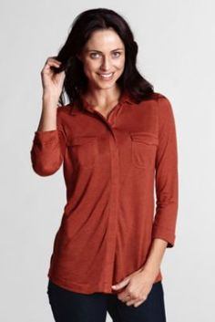 Women's 3/4-sleeve Drapey Knit Button-front Shirt from Lands' End