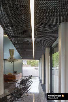 A black stretch metal ceiling by Hunter Douglas Architectural. : A black stretch metal ceiling by Hunter Douglas Architectural. Drop Ceiling Panels, Open Ceiling, Ceiling Light Design, Metal Ceiling, Black Ceiling, Office Ceiling, Ceiling Decor, Ceiling Fans, Hunter Douglas