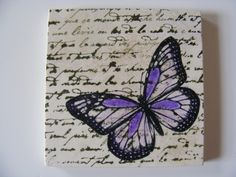Purple Monarch Butterfly Tile Coasters - Set of 4 - Home Decor